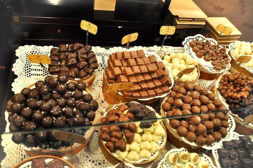 Обои Витрина во Львовской мастерской шоколада, Украина