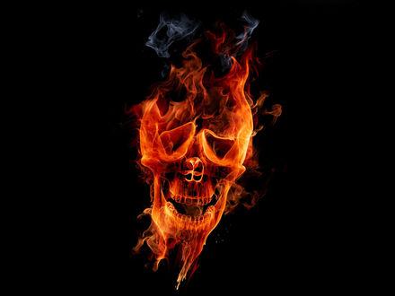Обои Череп из огня и дыма