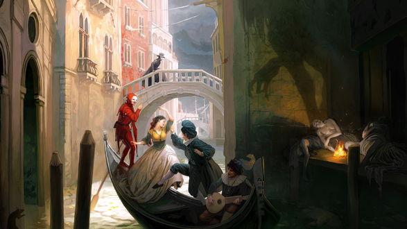 Обои Пара плывёт по воде на гондоле с музыкантом и мимом