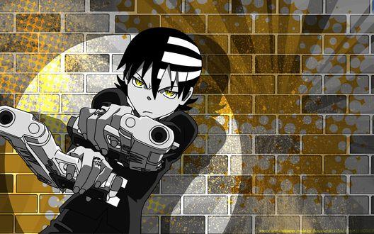 Обои Кид / Kid из аниме Soul Eater / Пожиратель Душ с двумя пистолетами на фоне кирпичной стены (Vector and Wallpaper made by Susan-chan I Soul Eater(c) BONES)