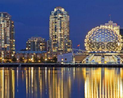 Обои Огни Ночного города Ванкувер в Канаде / Vancouver ,Canada