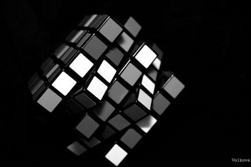 Обои Чёрно-белый кубик-рубик (Volkova)