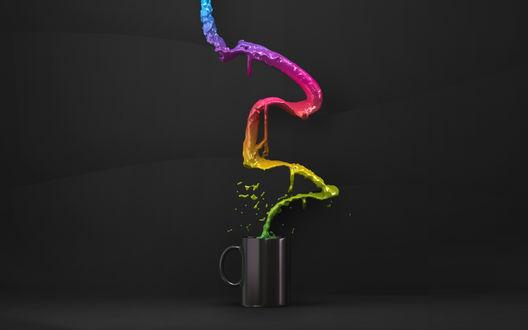 Обои Чёрная чашка из которой вырывается разноцветная жидкость
