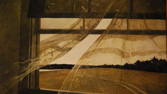 Обои Вид из окна сквозь развивающиеся на ветру занавески на поле