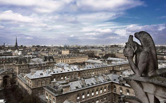Обои Вид на Париж с высоты Собора Парижской Богоматери / Notre-Dame de Paris, Франция
