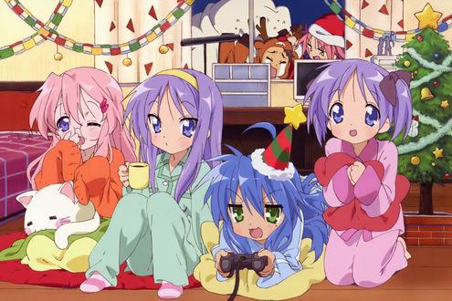 Обои Персонажи аниме Luky Star / Счастливая Звезда отмечают Новый год (Рождество)