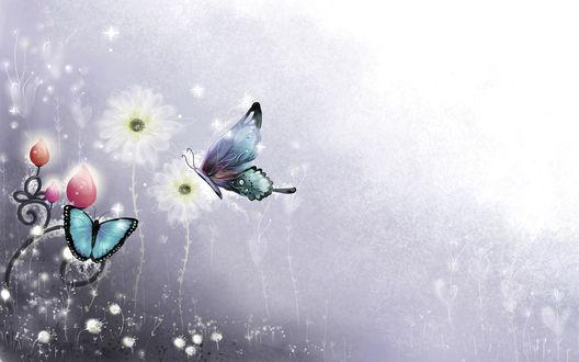 Обои Абстракция с бабочками и цветами