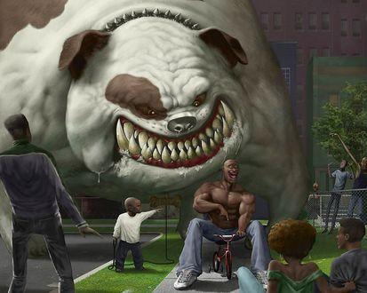 Обои Страшный, огромный бульдог хочет скушать мужчину
