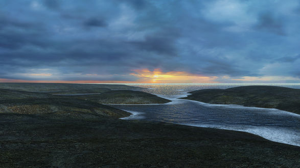Обои Закат солнца над морем, в которое впадает река