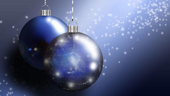Обои Синие новогодние шары со светящимися огоньками