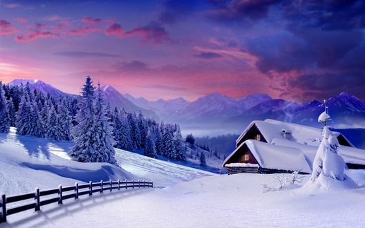 Обои Домик в заснеженных горах