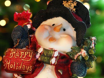 Обои Декоративный снеговичок с табличкой (Happy Holidays)