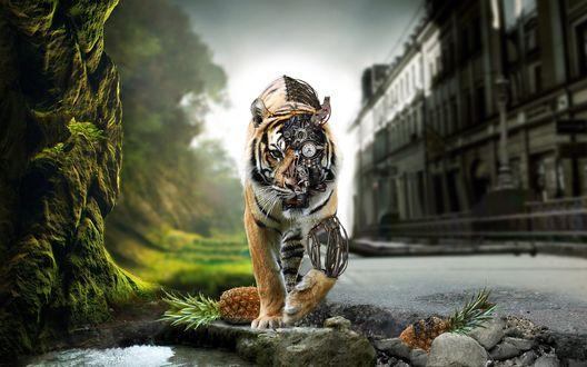 Обои Наполовину механический тигр идёт по по серому городу, другая, живая его половина в красочных джунглях.