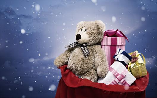 Обои Мешок с подарками на Новый Год