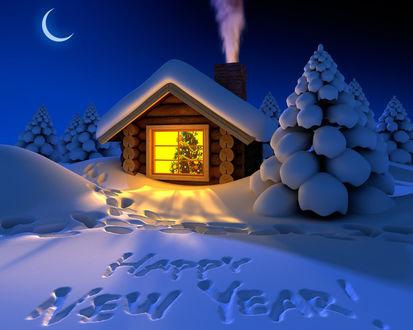Обои Уютный теплый домик в заснеженном лесу и хозяева ждут с нетерпением Новогго года! (Happy New Year!)