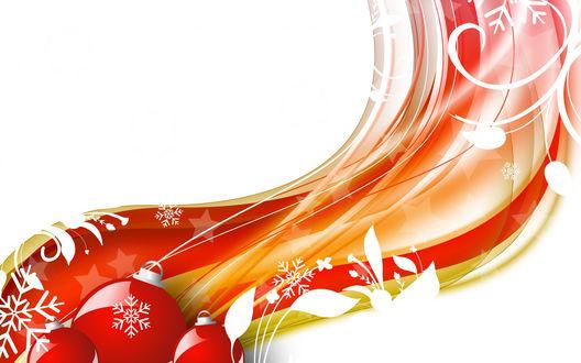 Обои Новогодняя абстракция с мотивом снежинок, елочных игрушек и листьев
