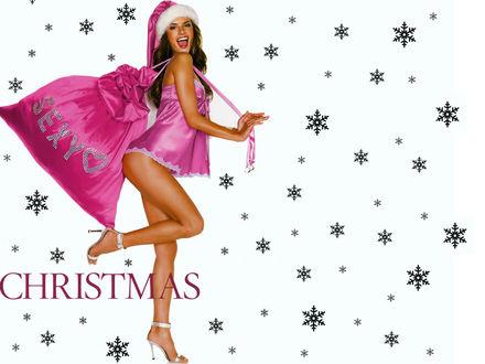Обои Модель Алессандра Амбросио / Alessandra Аmbrosio в розовом белье и розовой шапке Санты с мешком сексуальных подарков (Sexy) на фоне снежинок (Christmas)
