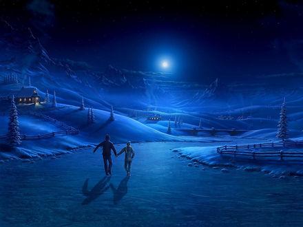 Обои Пара катается на коньках по замерзшей реке ночью в свете луны