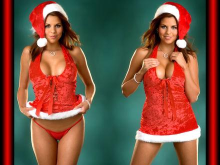Обои Снегурочка с большой грудью в красном нижнем белье нарядилась и готова всем раздавать подарки