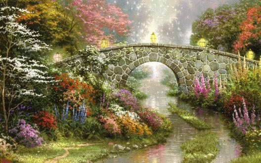 Обои Томас Кинкейд. Живопись. Мост через речку в окружении красивых цветов