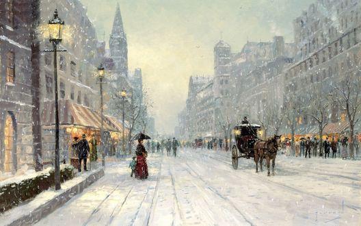 Обои Томас Кинкейд. Живопись. Оживленная улица города в снегопад
