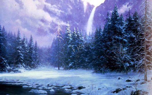 Обои Томас Кинкейд. Живопись. Высокие ели в горах у реки