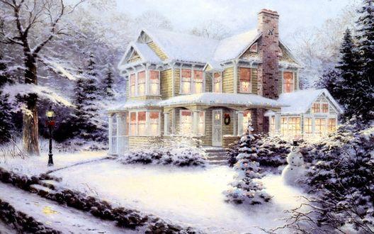Обои Томас Кинкейд. Живопись. Украшенный рождественский дом