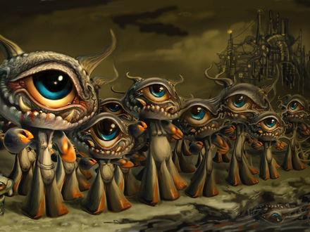 Обои Странные существа с одним глазом и клыками