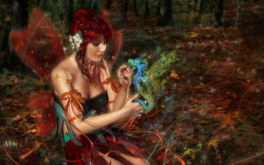 Обои Рыжеволосая фея держит в руках дракончика