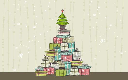 Обои Маленькая елка со звездой на вершине горы с подарками