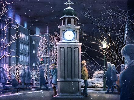 Обои Кагамине Лен и Рин зимой ждут друг друга на площади стоя по разные стороны часов