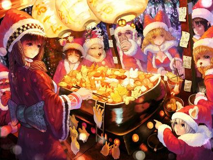 Обои Новогодняя сказка в стиле аниме by Sakai Yoshikuni