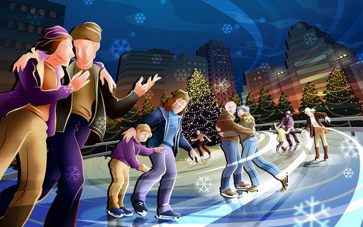 Обои Новогодний дух охватил город, парочки и матери с детьми катаются вечером на катке под падающим снегом