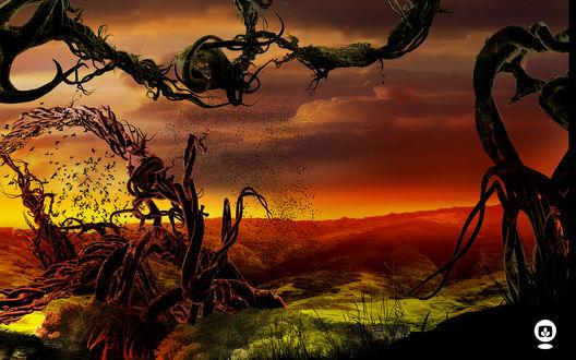 Обои Адский пейзаж в виде багровой степи с облаками, летучих мышей и деформированных деревьев