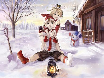 Обои Вокалоиды Кагамине Лен и Рин в новогодних костюмах зимой