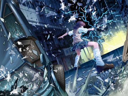 Обои Разъярённая Misaka Mikoto / Мисака Микото из аниме To Aru Kagaku no Railgun / Некий научный Рейлган и To Aru Majutsu no Index / Магический Индекс / Индекс волшебства крушит всё подряд