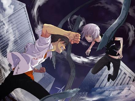 Обои Битва Томы с Акселератором из аниме To Aru Majutsu no Index / Магический Индекс / Индекс волшебства