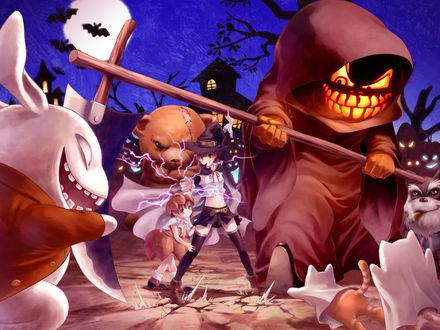 Обои Misaka Mikoto / Мисака Микото из аниме To Aru Majutsu no Index / Магический Индекс / Индекс волшебства и To Aru Kagaku no Railgun / Некий научный Рейлган в костюме ведьмы в Хэллоуин / Halloween защищает свою сестрёнку от монстров