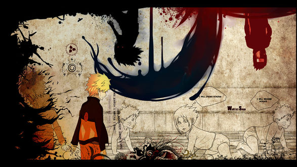Обои Наруто и Саске из аниме Naruto (Saske: I will crush Konoha / Я разрушу Коноху Naruto: I will become Hokage / Я стану Хокаге) Wall(c)Snyp