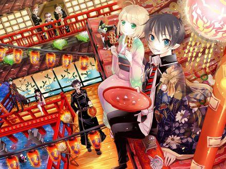 Обои Морияма и Рин с котом сидят на крыше и едят данго, ниже остальные персонажи аниме Синий Экзорцист / Ao no Exorcist / Blue Exorcist