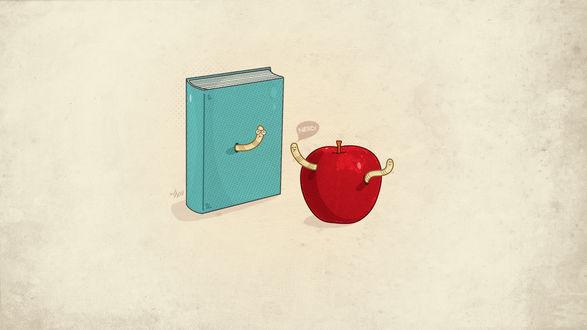 Обои Из голубой книги и красного яблока вылезли три червячка. Один червячок сказал другому Nerd!