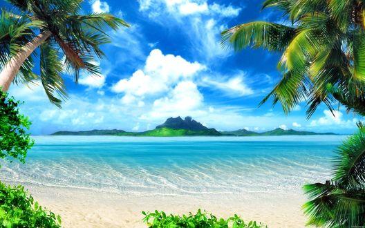 Обои Красочный вид с острова на другой остров