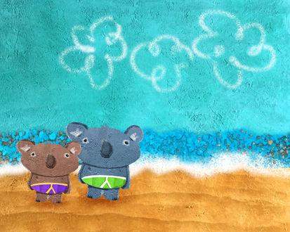 Обои Две коалы в плавках на пляже