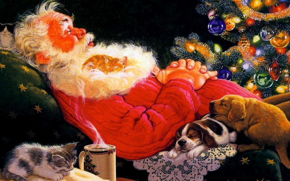 Обои для рабочего стола Дед Мороз спит рядом с животными