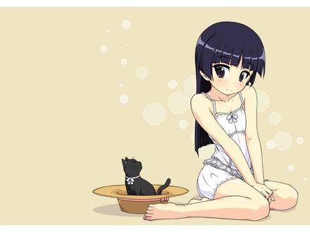 Обои Gokou Ruri / Рури Гоко (Куронэко) с кошкой из аниме Ore no Imouto ga Konna ni Kawaii Wake ga Nai / Моя младшая сестра не может быть такой милой