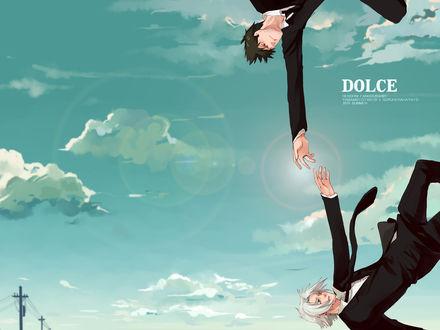 Обои Персонажи аниме 'Kateikyoushi Hitman Reborn / Учитель-мафиози Реборн' в небе - Ямамото протягивает руку падающему Гокудере (DOLCE Reborn! Fanbook#001 Yamamoto Takesi x Gokudera Hayato 2010 summer)