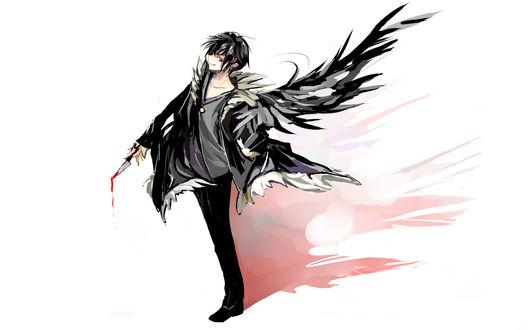 Обои Орихара Изая из аниме Durarara с окровавленным ножом в руке и чёрными крыльями за спиной (арт)