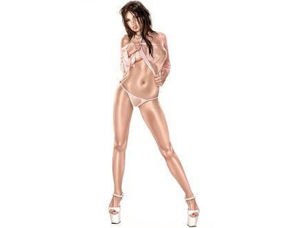 Обои Девушка в эротичном прозрачном нижнем белье, сквозь которое просвечивается прекрасное тело