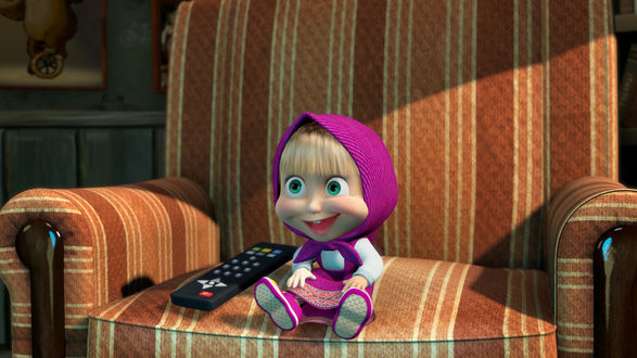Обои Маша сидит в кресле, рядом лежит телевизионный пульт,  из мультфильма 'Маша и Медведь'