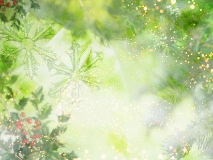 Обои Зеленые снежинки